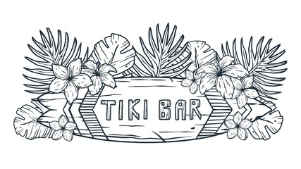 Obraz Design of trendy hawaii surf for tiki bar. Traditional ethnic surfing of hawaiian, maori or polynesian. Old tribal board - fototapety do salonu