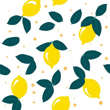 Colorful lemon background in flat style. Whole lemons with green leaves