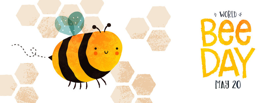 World Bee Day cute bumblebee cartoon banner