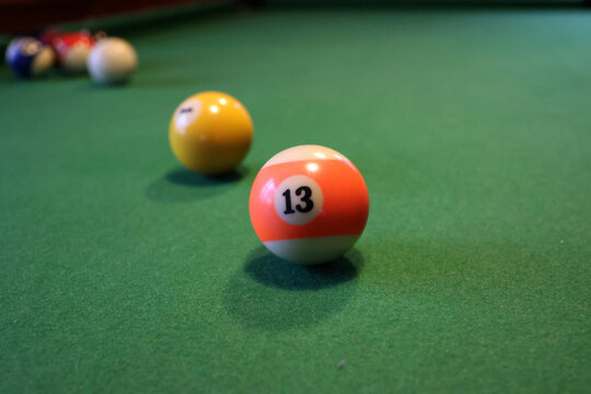 Colored pool balls on a green pool table
