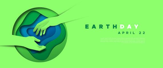 Fototapeta Earth Day paper cut hand help web template obraz