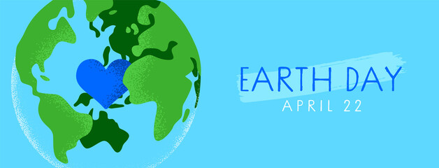 Earth Day green planet with heart cartoon banner