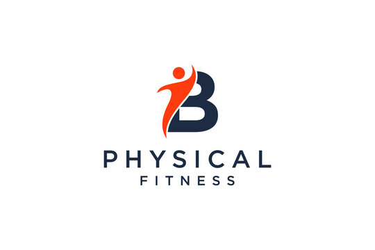 alphabet letter B for fitness logo vector icon design and Barbell Fitness Gym Logo Design