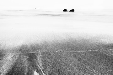 black and white image of the sea