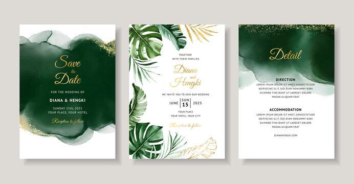 Elegant green tropical watercolor wedding invitation card template