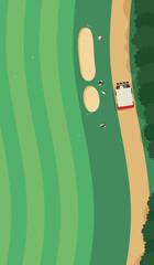 Fototapeta 空から見たゴルフコースの風景。ゴルフカートからフェアウェイに向かっている人達のイラスト。