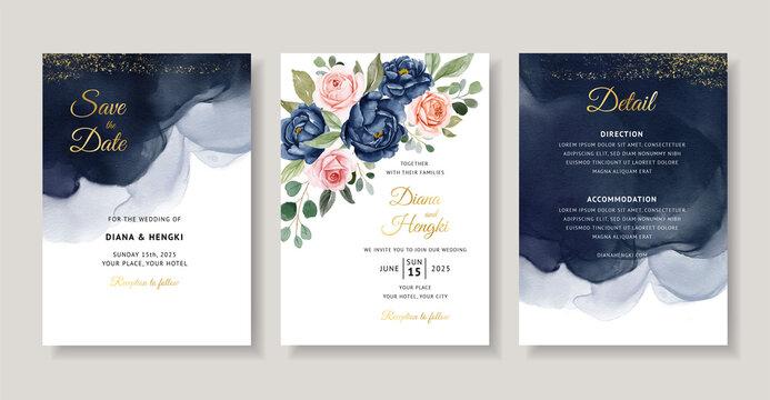 Elegant navy floral watercolor invitation card template