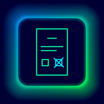 Glowing neon line Poll document icon isolated on black background. Colorful outline concept. Vector