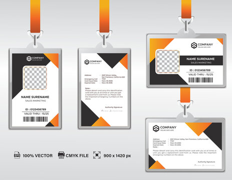 Corporate ID Card Design Template. Modern Horizontal and Clean black Identity Cards with CMYK colors. Vector EPS