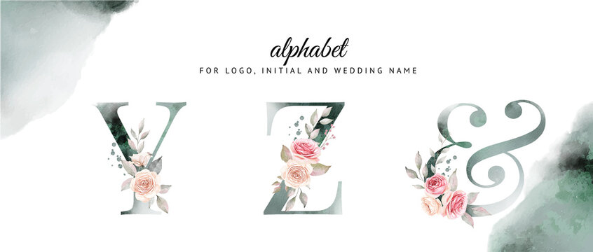 Watercolor alphabet set of y, z with beautiful floral . for logo, cards, branding, etc