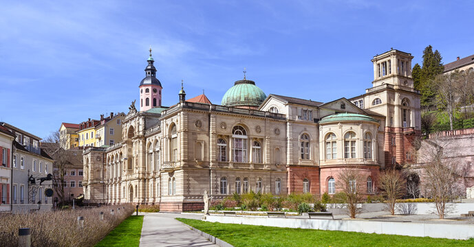 View of the old Friedrichsbad and the collegiate church in Baden Baden Bathing district. Baden Wuerttemberg, Germany, Europe