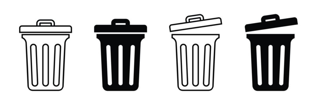 Trash bin icon. trash can open icon, Vector illustration