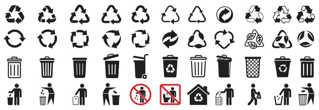 trash can icon and Recycle icons set, Trash bin,  Vector illustration