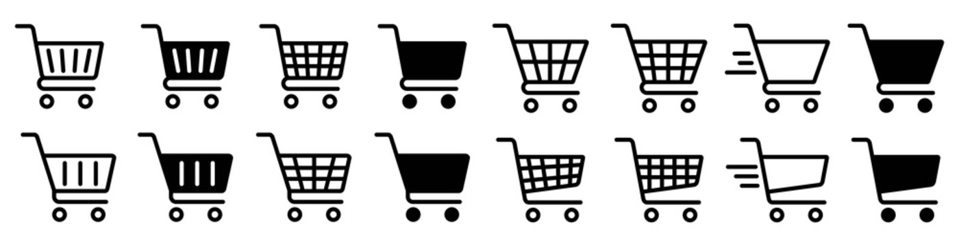 Shopping cart icon set, Full and empty shopping cart symbol, shop and sale, vector illustration