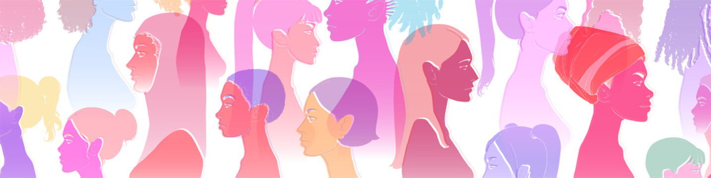 Group of diverse young people, female equality, different culture. Calm or smiling women, colorful sketch vector illustration, abstract concept.