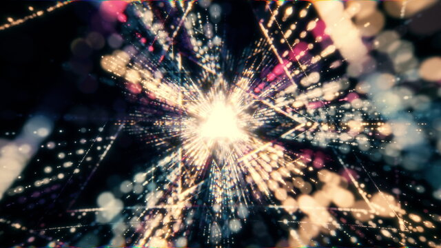 Retro Abstract triangle glowing VJ tunnel video for edm music animation. Flight sci-fi tunnel seamless loop. VJ motion graphics for music video for club concert, high tech background. 80s hyperspace