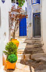 Old traditional white villages with colorful doors in Cyclades islands of Greece. Amorgos