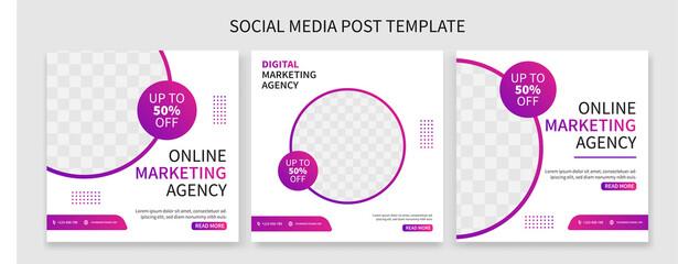 Fototapeta Set of Professional general business online marketing agency social media post template collection. online web promotion banner