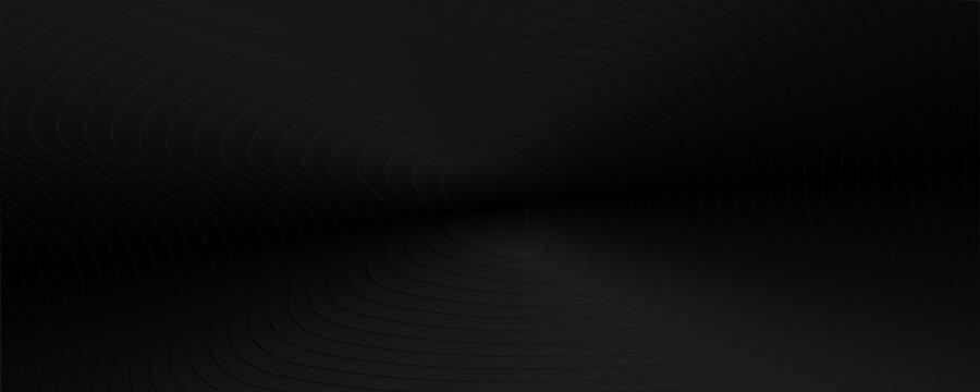 Abstract gradient black background with wavy lines. Minimal geometric pattern design texture. Black monochrome stripe elements.