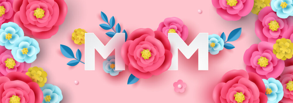 Mother's day sale banner template for social media advertising, invitation or poster design with paper art flowers background.