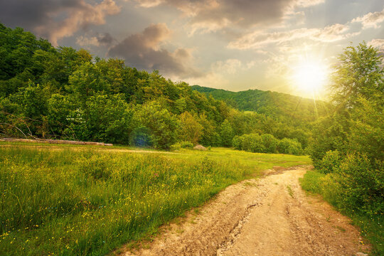 dirt road through forested countryside at sunset. beautiful summer rural landscape in mountains. adventure in nature scenery in evening light