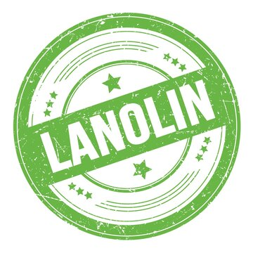 LANOLIN text on green round grungy stamp.
