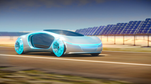 Concept car rides on the road, solar panels are in the background. 3d illustration