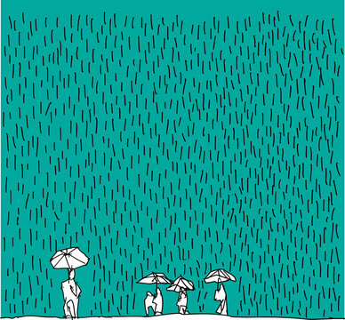 hand drawn sketch of people with umbrellas in heavy rain