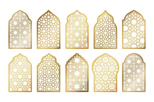 Set of gold ornate arab windows isolated on white. Vector illustration. Ramadan Kareem design element, invitation or card template. Arabic traditional architecture, beautiful arabesque motif pattern.