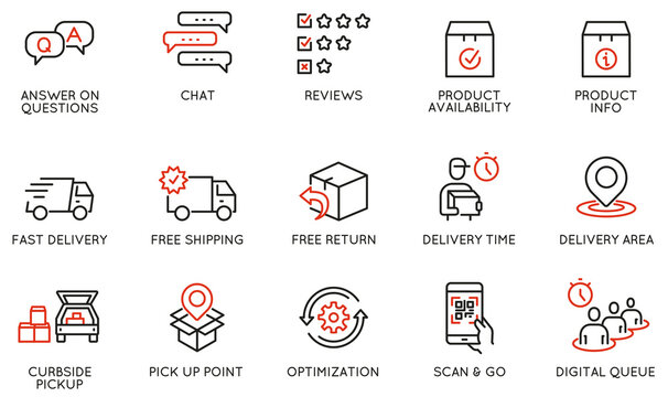 Vector Set of Linear Icons Related to Shipping and Express Delivery Process, Convenience of Purchasing Products and Digital Transformation. Mono line pictograms and infographics design elements