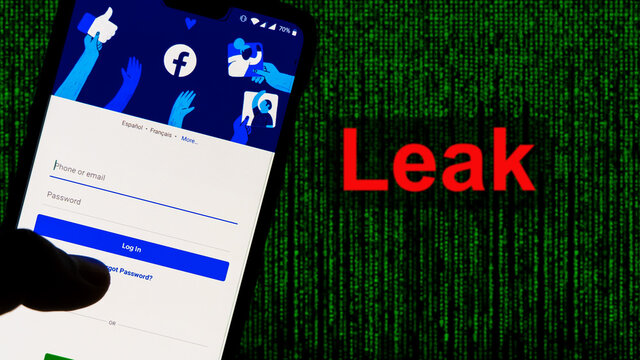Facebook App aginst Leak text in red and Matrix-style green background. 533 Million Facebook User's personal information has been leaked online on Saturday, April 4th 2021.
