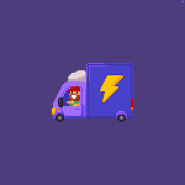 Pixel art delivery car with lightning symbol on it and happy driver