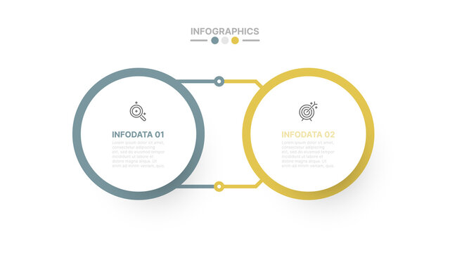 Vector infographic design template with circles and label. Business concept with 2 options.