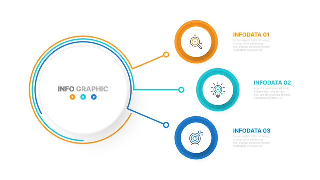 Business infographic template design vector circle shapes, line and marketing icons with 3 step, options. Can be used for workflow diagram, business process step, presentation or web design.