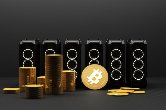Bitcoin is becoming more valuable than gold and currency today By using computer equipment in mining, finance concept in yellow color. 3d rendering