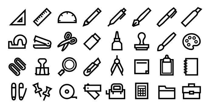 Stationery Icon Set (Bold outline version)