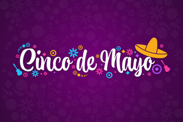 Fototapeta Cinco de Mayo. Inscription May 5 in Spanish. Holiday concept. Template for background, banner, card, poster with text inscription. Vector EPS10 illustration. obraz