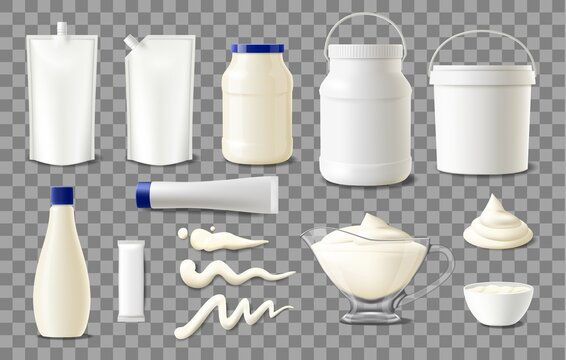 Mayonnaise package mockups, realistic plastic containers, sachet bags and jars, vector blank templates. Food products packages, mayonnaise sauce glass and plastic jar with lid, tube and pouch sachet