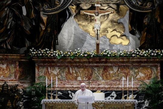 Pope Francis speaks prior to delivering his Urbi et Orbi blessing, at the Vatican