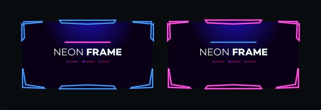 Neon frame design template modern theme. Streaming screen panel overlay game. Live video, online stream futuristic technology. Abstract digital user interface. Live streaming button. Vector 10 eps
