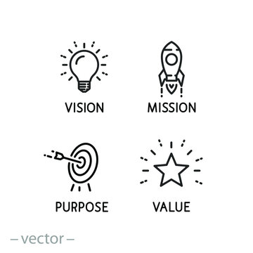 mission vision icon, value company purpose, strategic target, thin line symbol on white background - editable stroke vector eps10