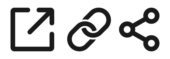 Link, share link, external link black icon set. Isolated URL symbols on white background. Redirecting links button. Web UI design. Vector illustration.