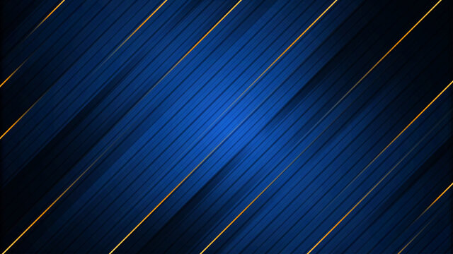 Abstract blue background with gold stripes
