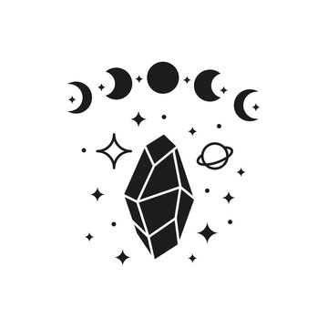 Hand drawn moon phases with crystal, planet and stars.