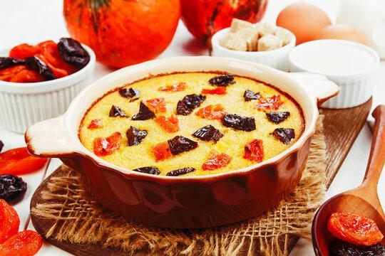 Pumpkin casserole with dried fruits
