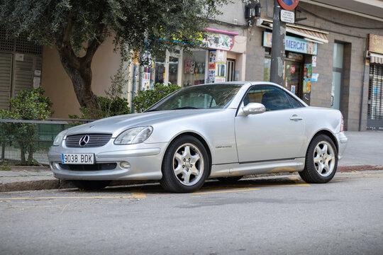 SABADELL, SPAIN-APRIL 4, 2021: Mercedes-Benz SLK 200 (R170), First generation (1996–2004)