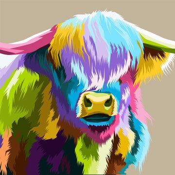 close up buffalo colorful pop art portrait premium vector isolated decoration