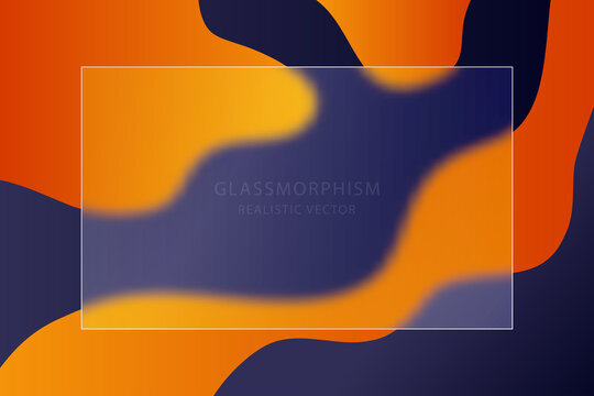 Glassmorphism effect with transparent glass plate on  abstract color background. Frosted acrylic or matte plexiglass plates in rectangle shape. Realistic glass morphism. Vector illustration.