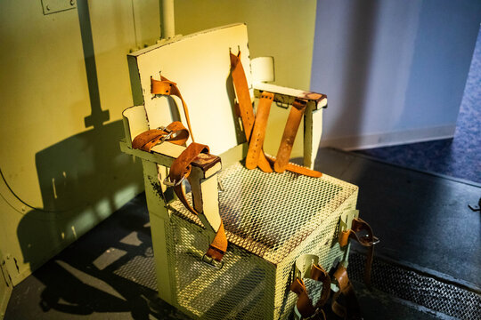 Lethal injection metal prison chair in the cell