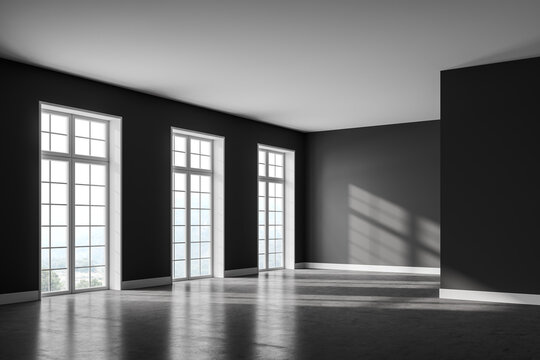 Grey empty living room with windows and no furniture